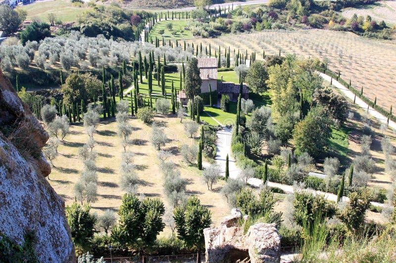 Typisch Italiaans cipressenlandschap, Umbrië royalty-vrije stock fotografie
