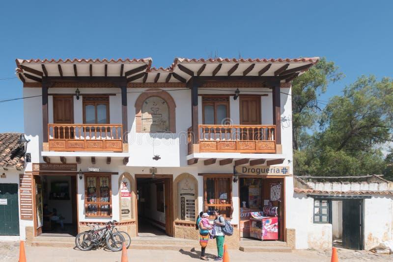 Typisch koloniaal huis in Villa DE Leyva Colombia stock afbeelding