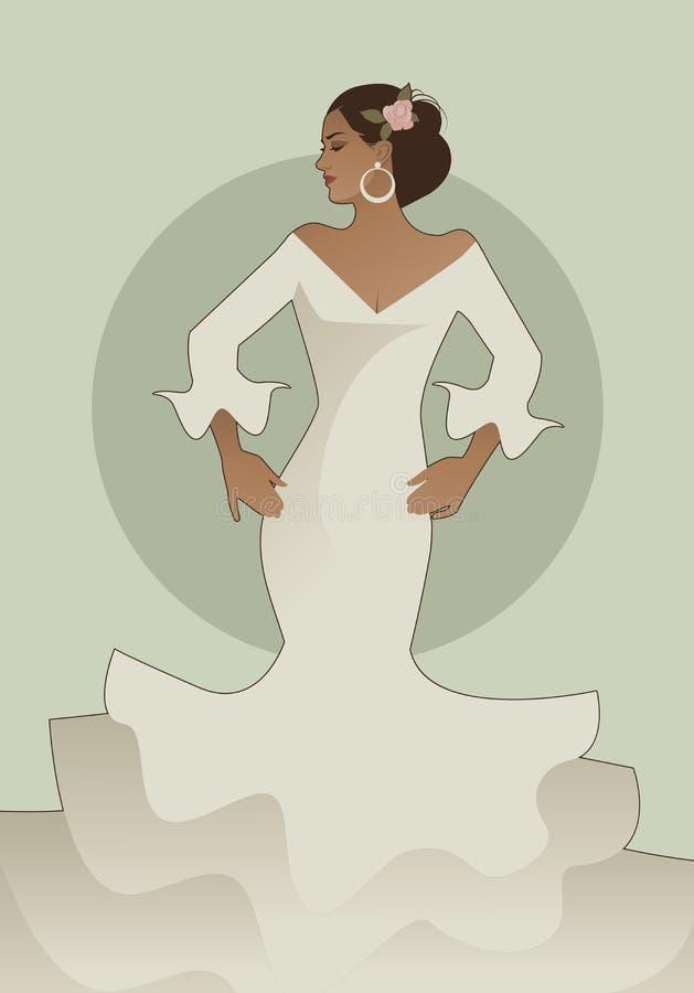 Typisch Spaanse die flamencokleding dragen royalty-vrije illustratie