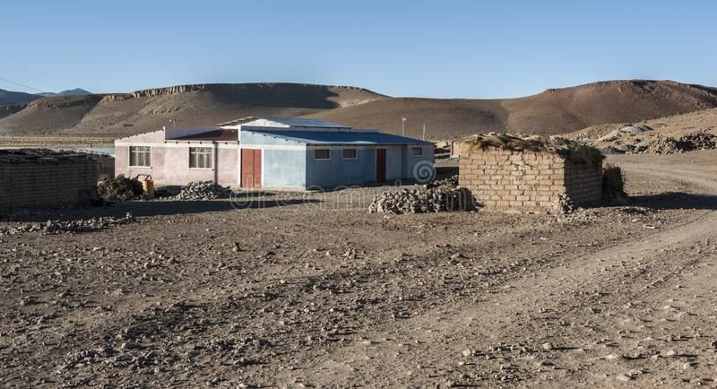 Typisch toevluchtsoord in Quetena Chico - Bolivië, stock foto