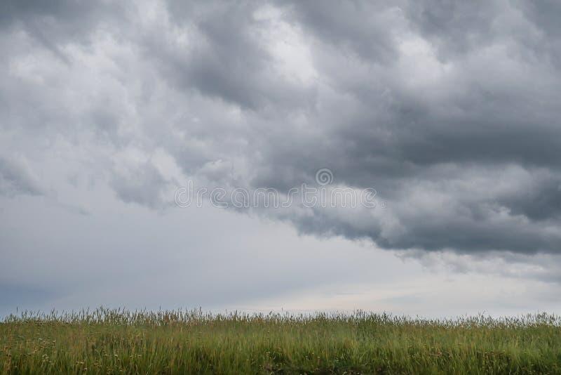 Typisch wild landschap in Bretagne met verbazende donkere bewolkte hemel, uniek troosteloos platteland met niemand stock afbeeldingen