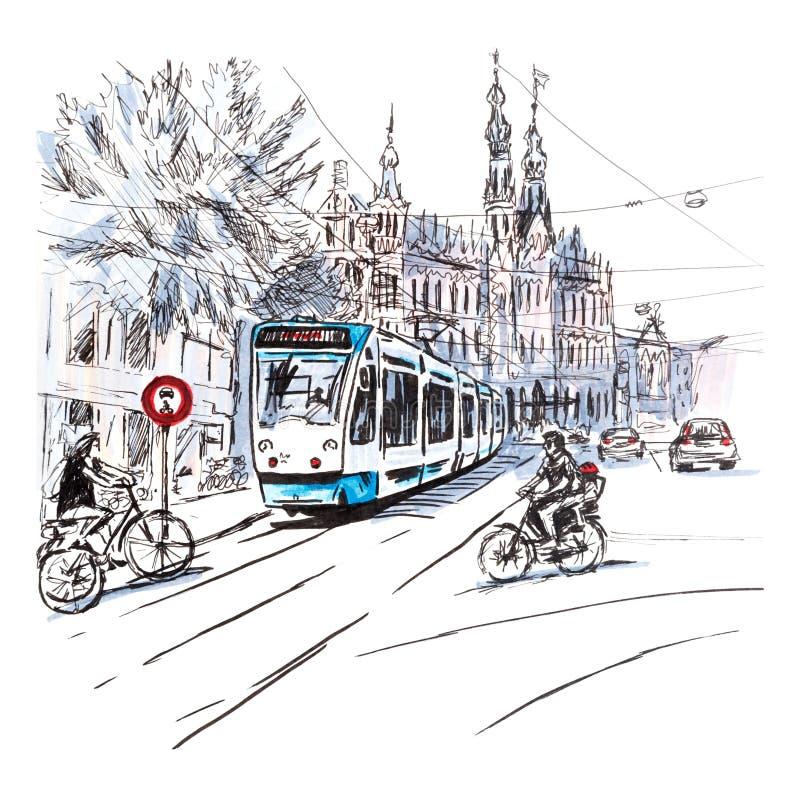 Typische Amsterdam-Straße, Holland, die Niederlande stock abbildung