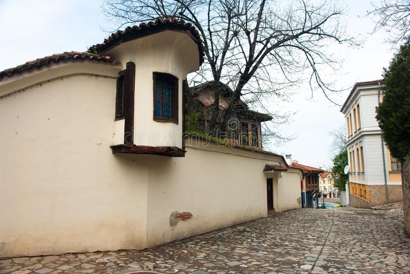 Typische architectuur, historische middeleeuwse huizen, Oude stad stock foto's