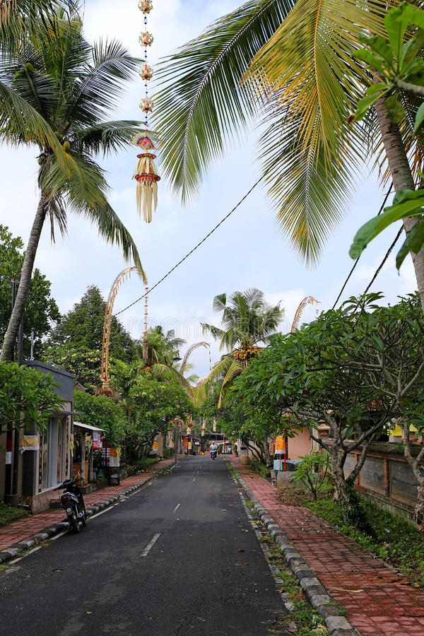 Typische Balinese Straat - Ubud, Bali, Indonesië - 2016 stock afbeelding