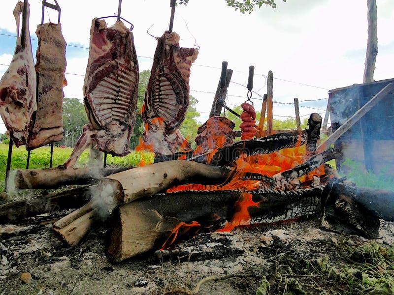 Typische barbecue van het zuiden van Brazilië stock foto's