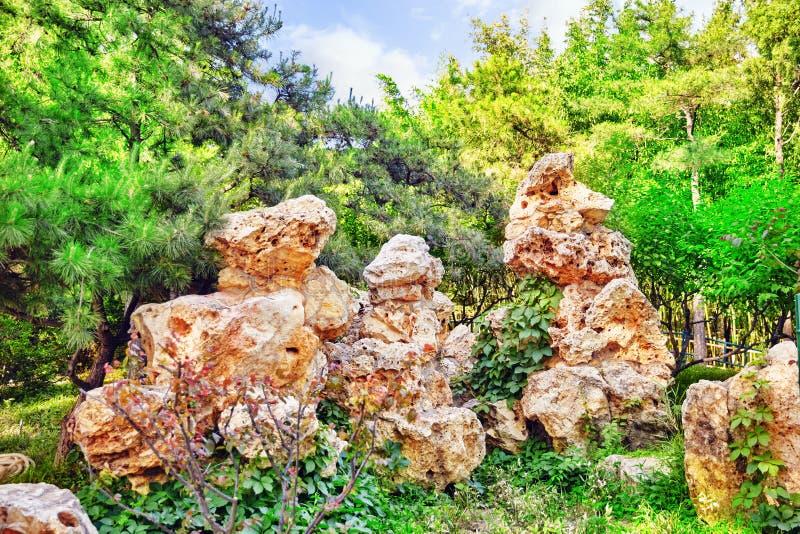 Typische Chinese tuin, park met bizarre rotsen Peking stock foto's