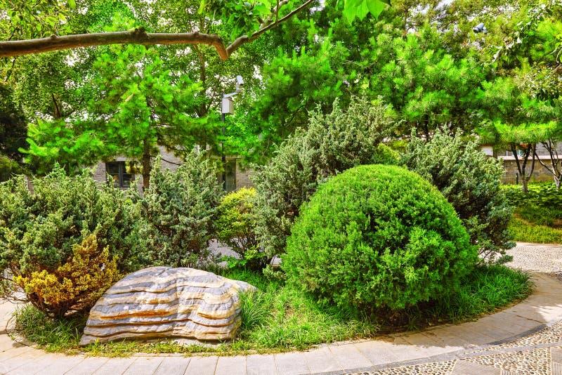 Typische Chinese tuin, park met bizarre rotsen Peking stock afbeeldingen