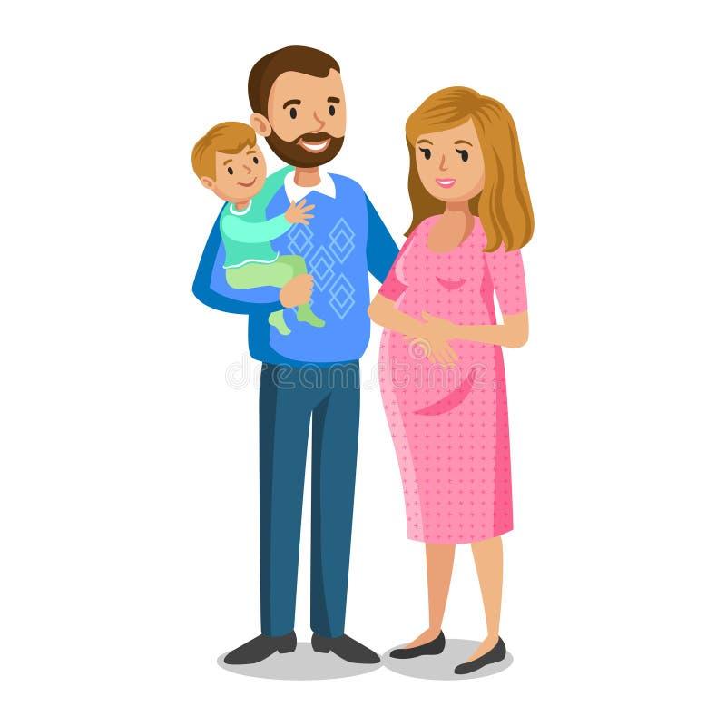 Typische familie in liefde, weinig jongen en ouders, zwangere vrouw stock illustratie