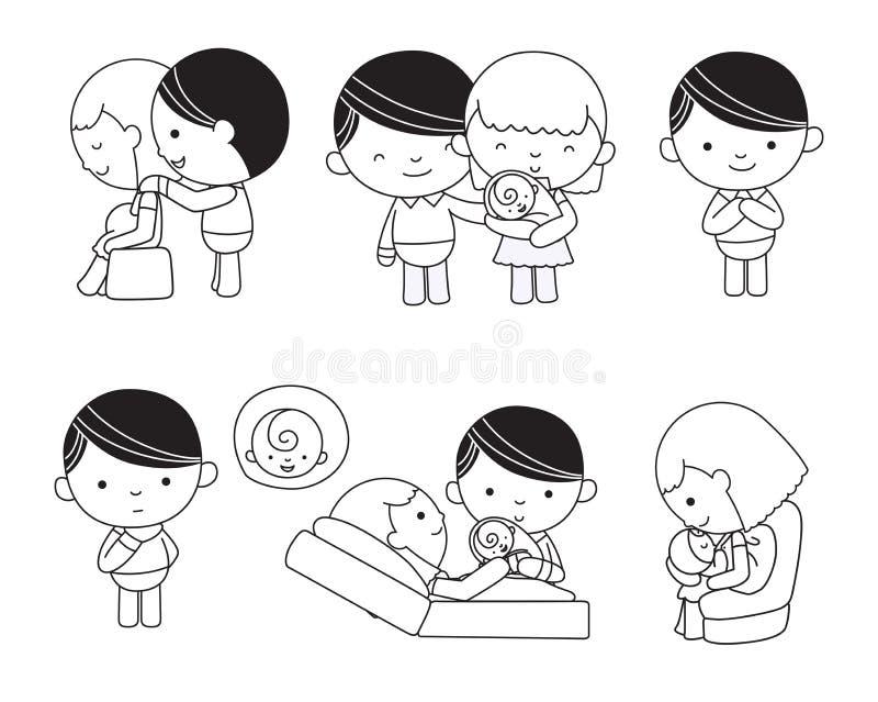 Typische familie in liefde, zwangere vrouw vector illustratie