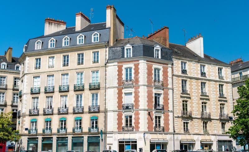 Typische Franse gebouwen in de stad van Rennes royalty-vrije stock afbeeldingen