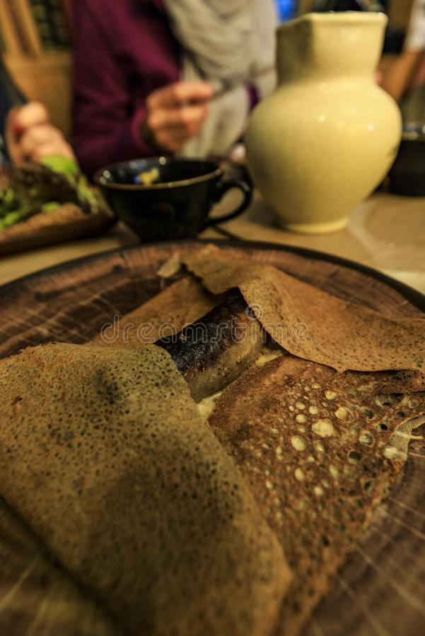 Typische galette van de Franse worst van Frankrijk stock foto