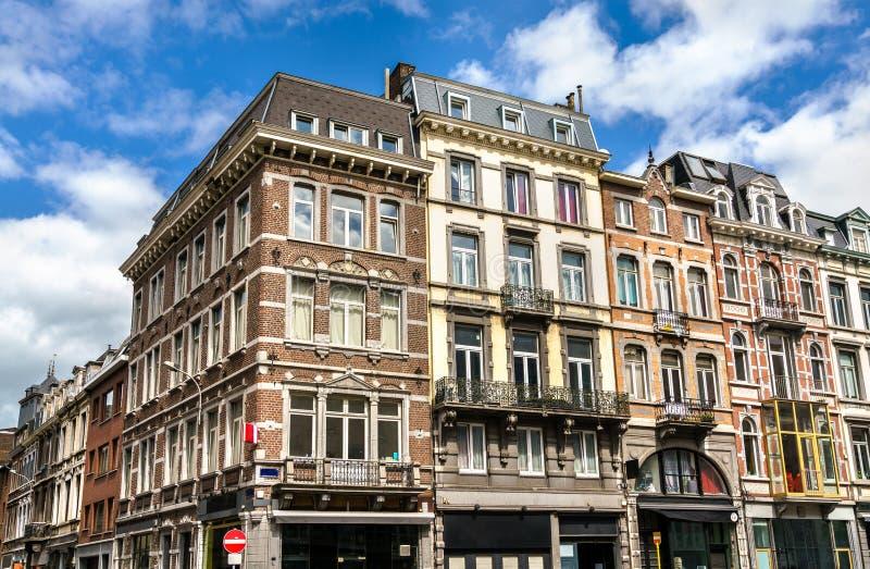 Typische Gebäude im Stadtzentrum von Lüttich, Belgien stockfotografie