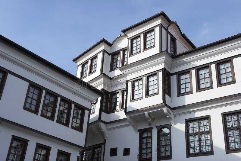 Typische gebouwen Ohrid stock afbeelding