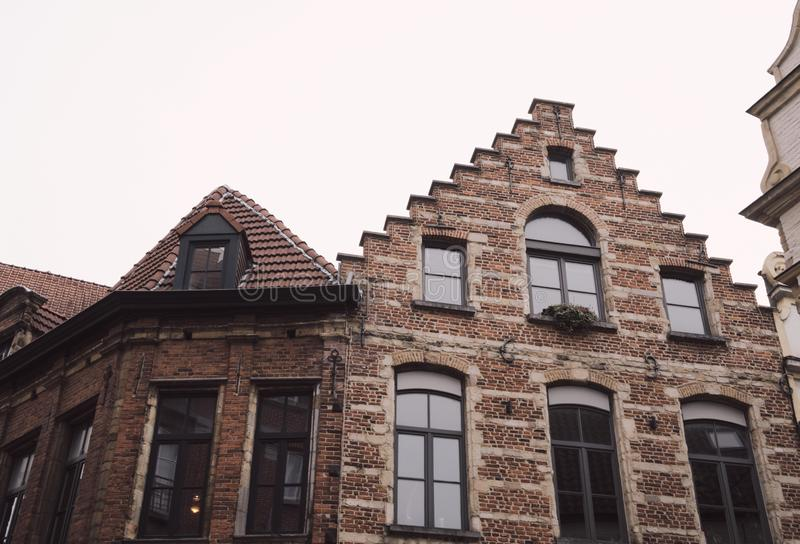 Typische gevel in Brussel - België stock afbeelding