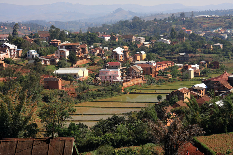 Typische huisvesting van Hoogland Madagascar royalty-vrije stock foto's