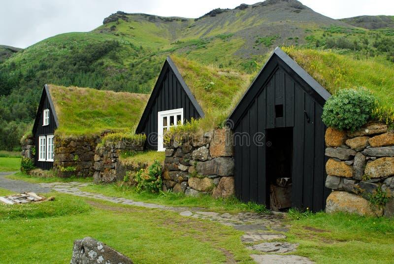 Typische huizen van Skogar, IJsland royalty-vrije stock afbeelding