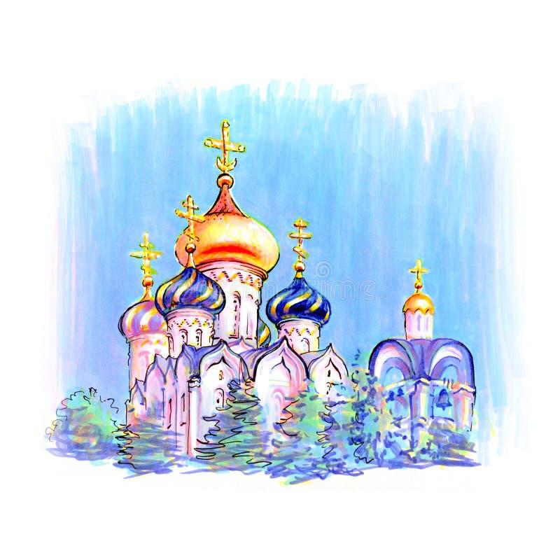 Typische orthodoxe kerk royalty-vrije illustratie
