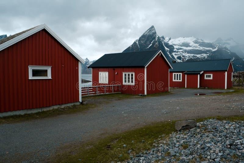 Typische rode rorbu visserijhutten met zodedak op Lofoten-eilanden in Noorwegen stock afbeeldingen
