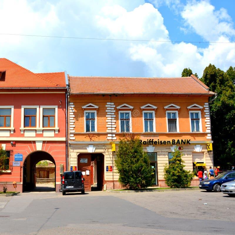 Typische Stadtlandschaft in den Stadt Rupea-Ripsen, Transylvani, Rumänien stockbild