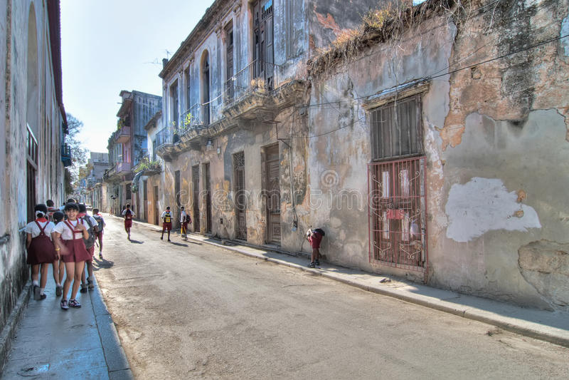 Typische steet in Oud Havana stock foto