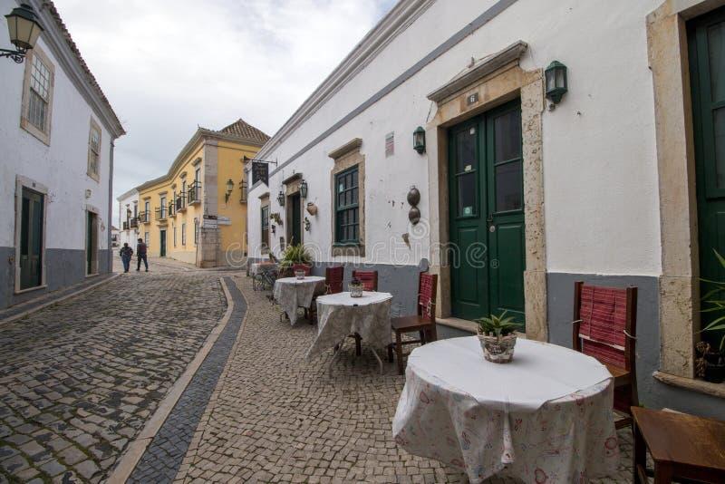 typische Straße in Faro-Stadt stockbilder