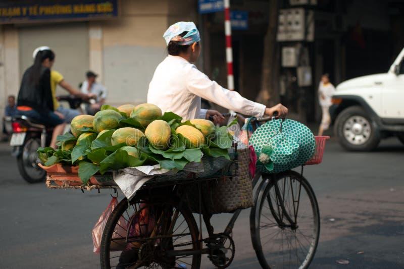 Typische straatventer in Hanoi, Vietnam stock afbeelding