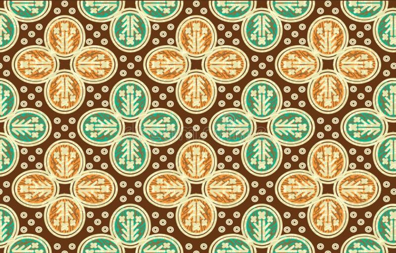 Typischer Entwurf des indonesischen Batiks, Kombination von kawung und von gurda Motiven in den Schatten der Wiederholung und der vektor abbildung
