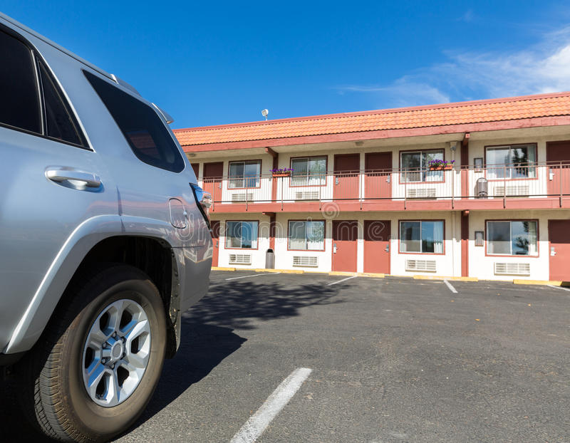Typisches amerikanisches billiges Motel stockfotos
