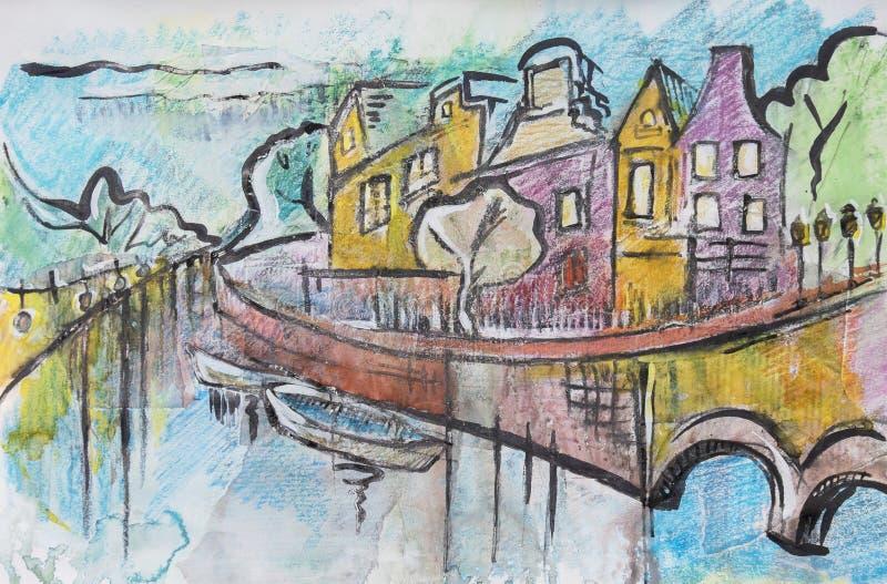 Typisches Amsterdam, malend lizenzfreie abbildung