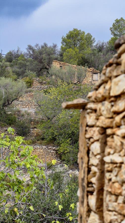 Typisches drystone Haus in Spanien stockbilder