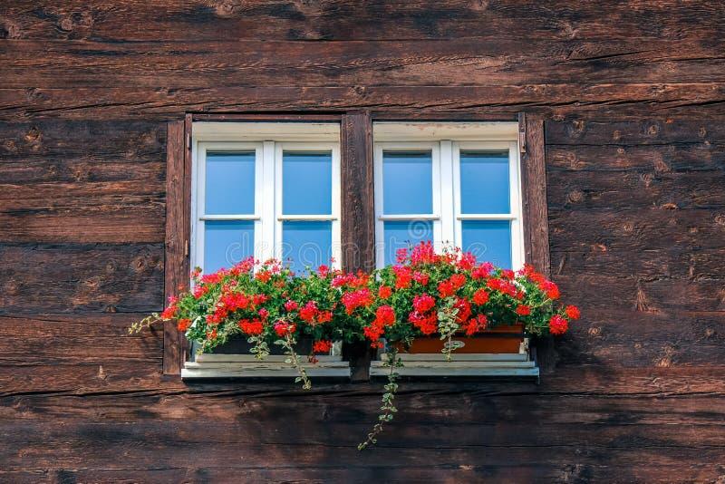 Typisches Fenster des hölzernen alpinen Chalets Hölzerne Hütte, rote Blumen im Fenster Traditionelle alpine Architektur alpen Alp lizenzfreie stockbilder