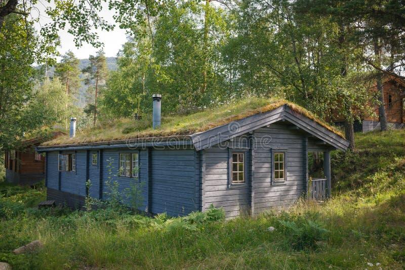 Typisches norwegisches Haus mit Gras auf dem Dach stockfotos