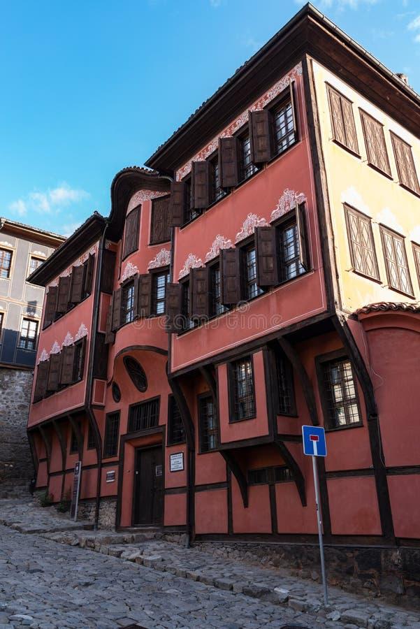 Typisk arkitektur, historiska medeltida hus i Bulgarien Det historiska museet av den Plovdiv utställningrenässans _ fotografering för bildbyråer