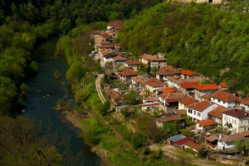 Typisk arkitektur, historiska medeltida hus, Veliko Tarnovo arkivfoton