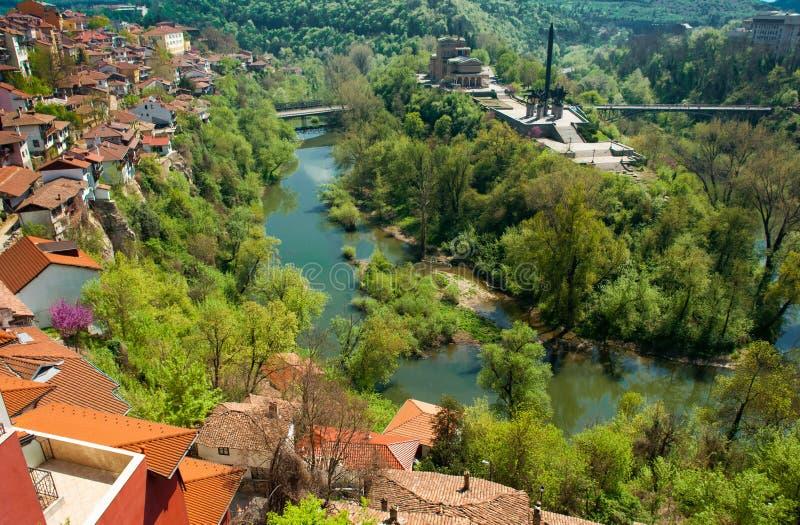 Typisk arkitektur, historiska medeltida hus, Veliko Tarnovo royaltyfri bild