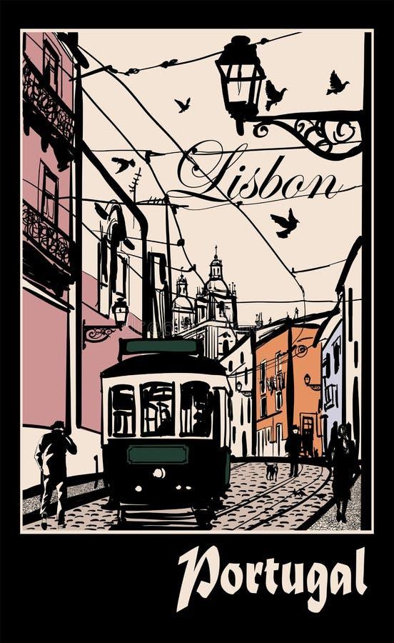 Typisk arkitektur och spårväg i Lissabon royaltyfri illustrationer