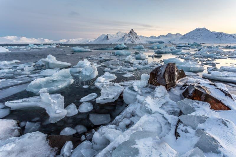 Typisk arktiskt islandskap - Spitsbergen arkivbilder