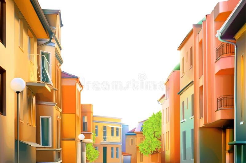 typisk bostads- gata av den provinsiella staden stock illustrationer
