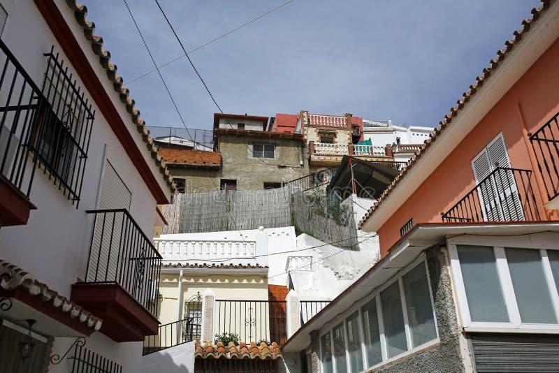 Typisk färgrik arkitektur i Velez-Malaga, Costa royaltyfri foto