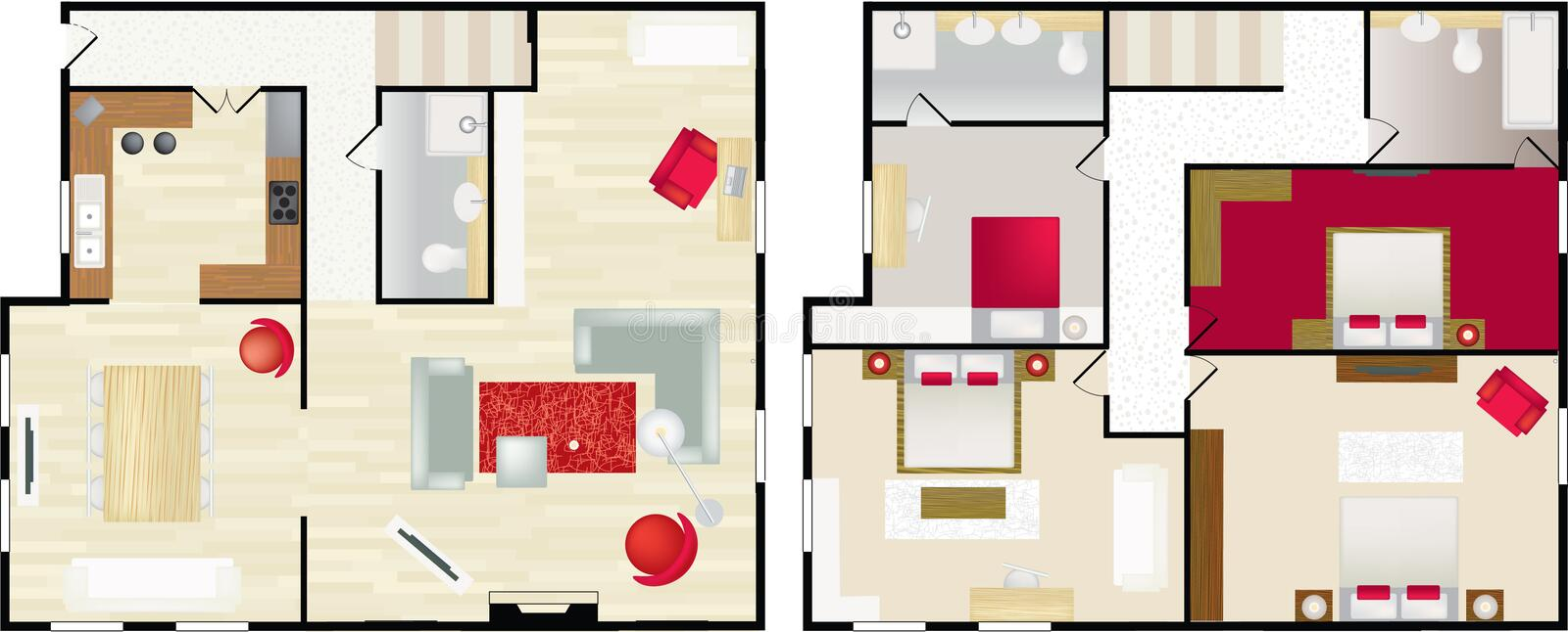 typisk floorplan hus s royaltyfri illustrationer