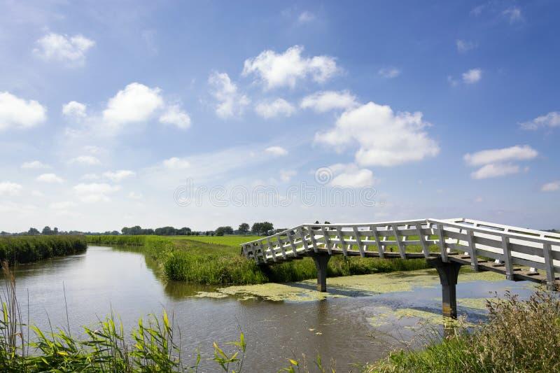 Typisk holländskt landskap med gröna ängar, gräs, bron, vatten, blå himmel och moln royaltyfria foton