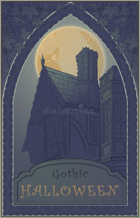 Typisk hus för spökeberättelse Begreppsmässig konst för allhelgonaafton Allhelgonaaftonaffisch eller mall för hälsningkort royaltyfri illustrationer