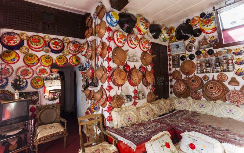Typisk inre av det traditionella huset Harar ethiopia arkivbild