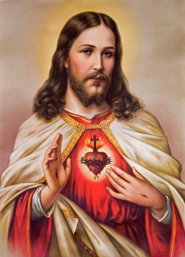 Typisk katolsk bild av hjärta av Jesus Christ royaltyfri fotografi