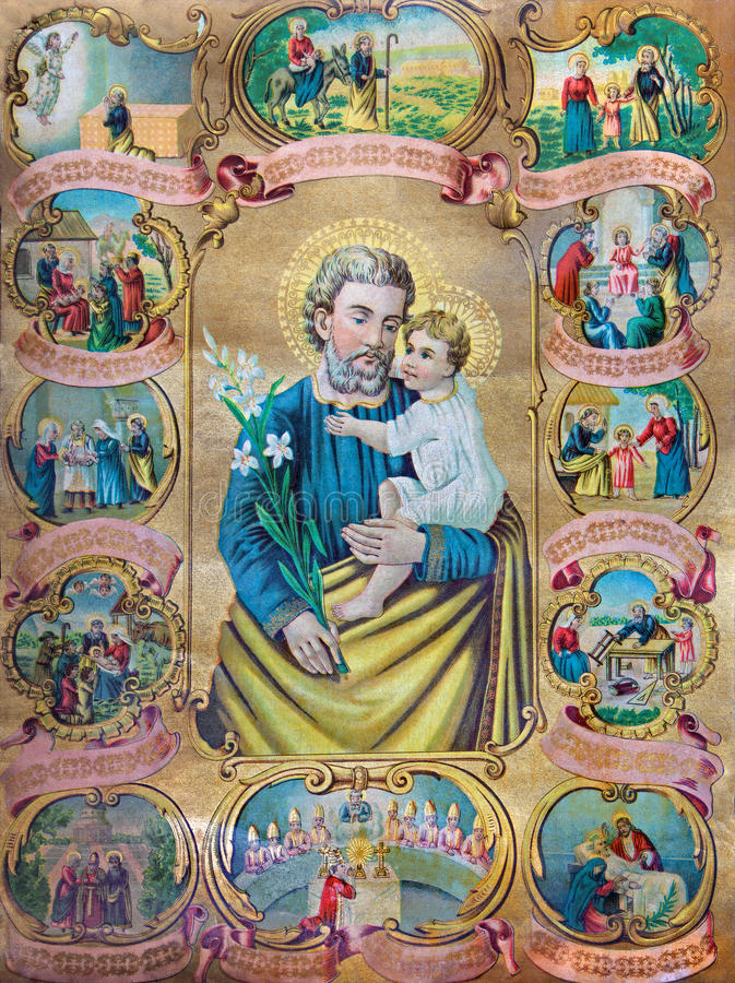 Typisk katolsk bild av St Joseph med platserna från livet royaltyfria foton