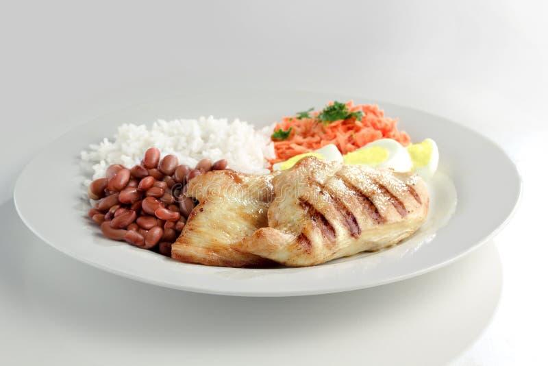 Typisk maträtt av Brasilien, rice och bönor arkivbilder
