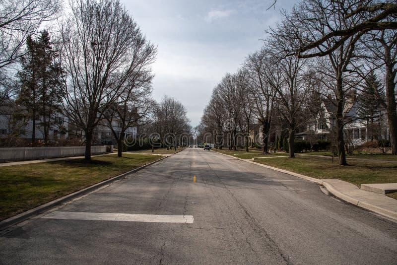 Typisk midwest förorts- gata i Chicago royaltyfri fotografi