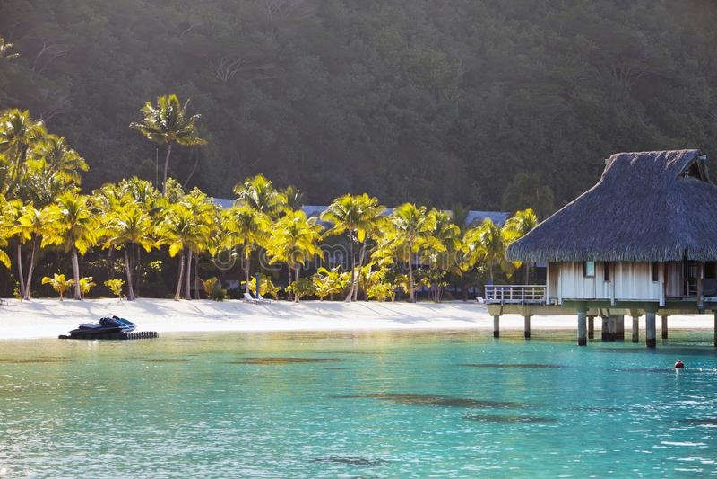 Typisk Polynesian landskap - ö med palmträd och små hus på vatten i havet och bergen på en bakgrund royaltyfri bild