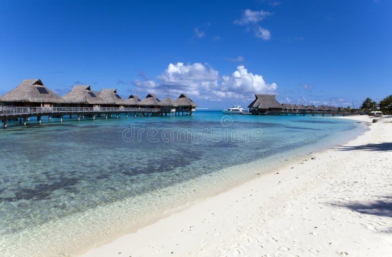 Typisk Polynesian landskap - små hus på vatten royaltyfri foto