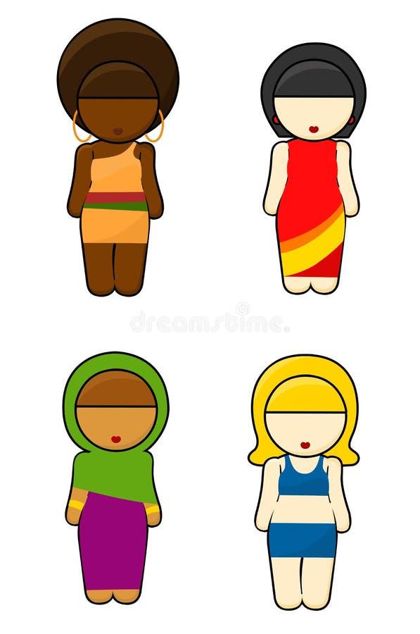 typisk wear för etniska flickor vektor illustrationer